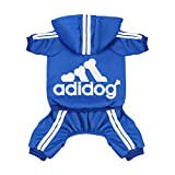 Scheppend Original Adidog Pet Clothes for Dog Cat Puppy Hoodies Coat Doggie Winter Sweatshirt Warm Sweater Dog Outfits, Blue Extra Small