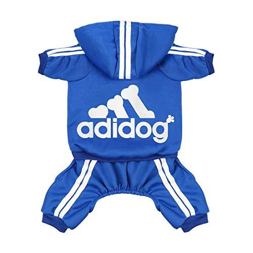 Scheppend Original Adidog Haustier-Kleidung für Hunde, Katzen, Welpen, Kapuzenpullover, Wintermantel, Winter-Sweatshirt, warmer Hundepulli., X-Small, blau