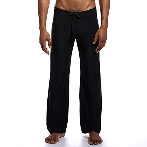 Romantiko Men's Long Ice Silk Yoga Pants Lounge Trousers Sleepwear Bottoms with Drawstring Black L