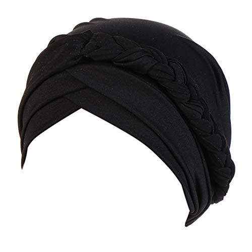 beauty YFJH Women Chemo Beanies Cancer Turban Head Wrap Caps Twisted Hijab Silky Braid Hair Cover Headwear (Black)