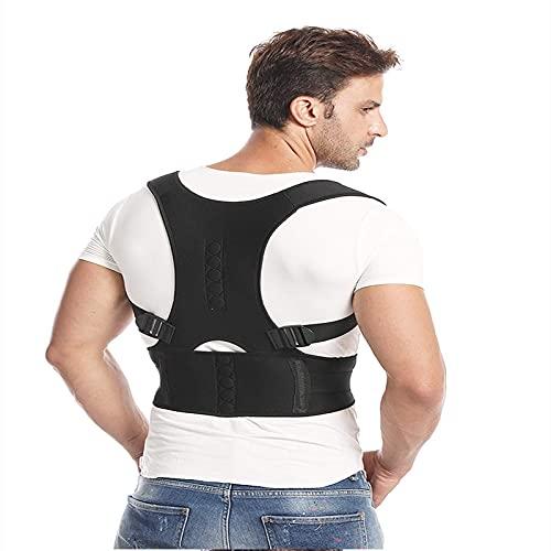 Corrector de postura de espalda para mujeres y hombres - Soporte de espalda y hombros - Plancha de espalda ajustable y proporciona alivio del dolor de espalda y hombros, negro, juego de 5 tamaños