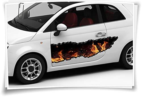 Medianlux autosticker zijstrepen vuur rook geel zwart haard airbrush folie tuning autowrapping luchtkanaalfolie digitale druk folie