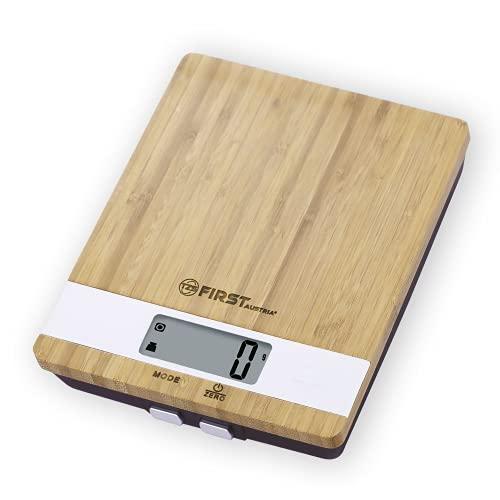 TZS First Austria Balance de Cuisine Design Bambou/Blanc, Balance Alimentaire Electronique Numérique, Affichage Digital, Capacité de Charge 5 kg, Sensibilité au Gramme, Arrêt Automatique