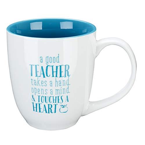 Blue Blessings to the Teacher Touches a Heart Mug - 1 Corinthians 16:14