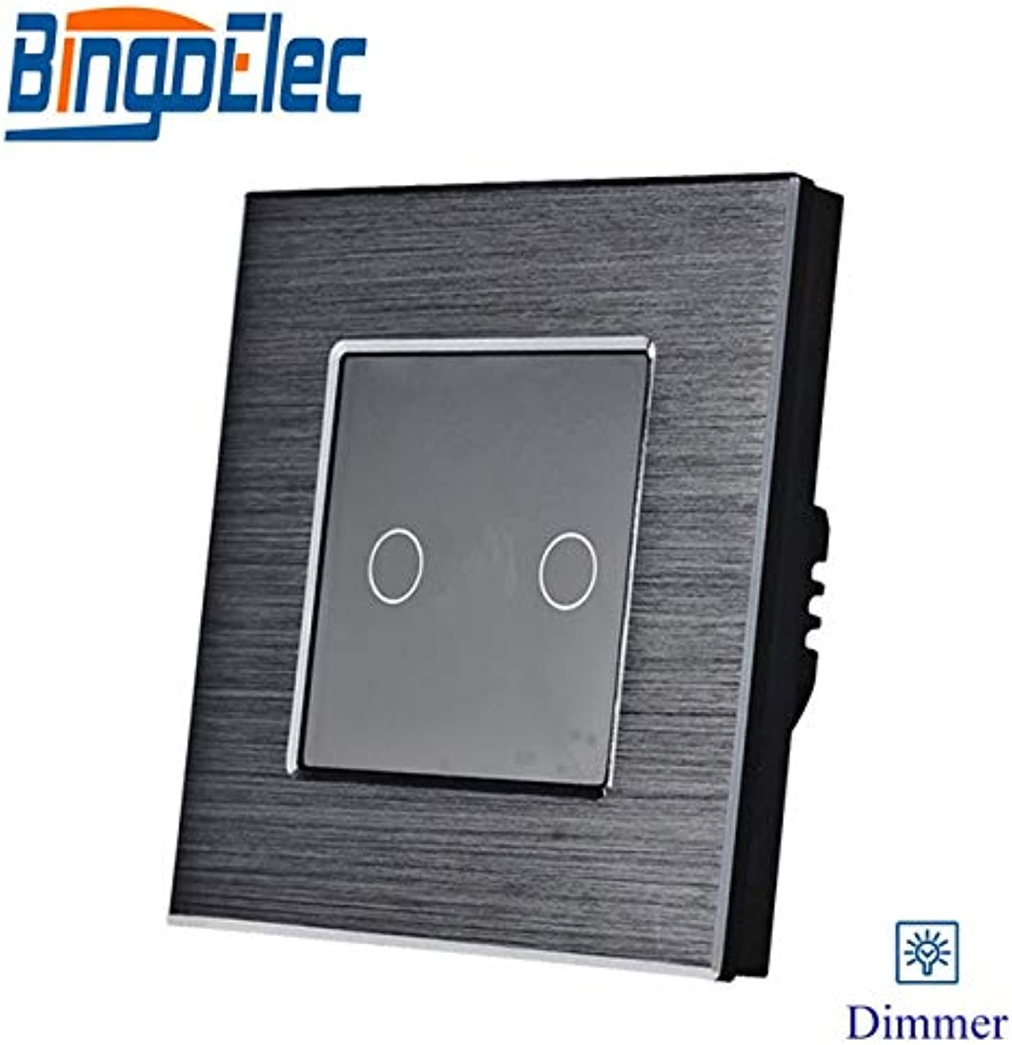 New Design 2gang 1way Touch Light dimmer Switch, Silver Aluminum and Black Glass Panel Fan Switch  (color  Black, Voltage  110240 V, Number of Gangs  2Gang, Standard  EU Standard)