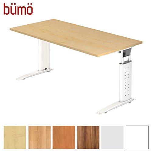 bümö® Schreibtisch höhenverstellbar 68-86 cm | Bürotisch mit Gestell in weiß | höhenverstellbarer Büroschreibtisch | Tisch für's Büro & PC in Top Qualität - Büromöbel (Rechteck: 160 x 80 cm, Ahorn)