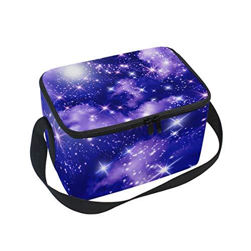 Ahomy Lunch Box Nebula Galaxy Glowing Stars Sac à déjeuner Isotherme Sac fourre-Tout Isotherme pour l'extérieur, l'école, Le Bureau, Les boîtes à Lunch Organisateur pour Enfants et Adultes