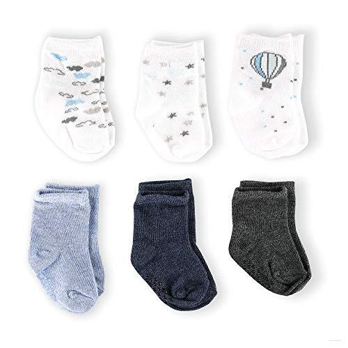 aden + anais Baby Jungen (0-24 Monate) Up Socken Socken Blau, Weiß und Grau 0-6 Monate