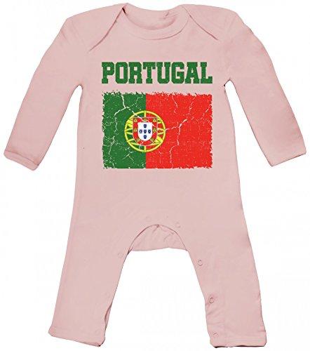 ShirtStreet Fußball WM Fanfest Gruppen Trikot Fan Baby Strampler Langarm Schlafanzug Jungen Mädchen Wappen Portugal, Größe: 12-18 Monate,Powder Pink