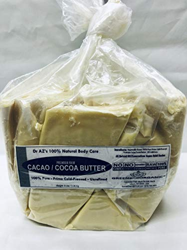 5Lbs RAW Cocoa Butter/Cacao BUTTER Organic Unrefined Natural 100% Pure Prime Cold Pressed Virgin Fresh by GREENandORGANIC