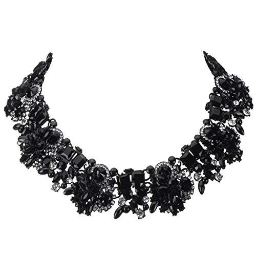 Jerollon Collana girocollo da donna con diamante in confezione regalo colore grigio con perle