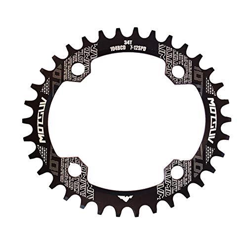 Zgsjbmh 32T 34T 36T 38T Fahrrad rund/oval Kettenblatt 104BCD Kettenblatt schmales breites Kettenblatt für Rennrad, Mountainbike, BMX MTB Fahrrad Einzelkettenring für Rennräder, Mountainbikes, BMX