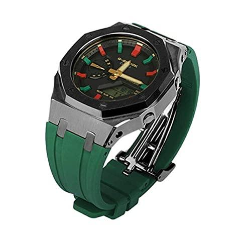 WSGGFA GA2100 3er Accesorios modificados Correa GA-2100 GEN3 Correa de Goma Metal Adaptador de Acero Inoxidable para G-Shock GA2100 2110 (Band Color : Green Black, Band Width : GA 2100)