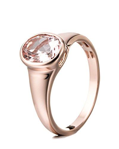 Jaipuri.Instyle by Tricolour - Damen Ring - 14 Karat (585) Roségold - echter Edelstein: Morganit ca. 1.65ct. - R14053MG / Gr. 51 (16.2)