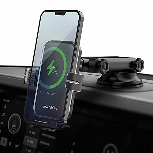 MANKIW Wireless Car Charger 15W/10W/7.5W Fast Charging Auto Clamping Car Wireless Charger Air Vent Car Phone Holder Mount Compatible with iPhone 12/12 Pro Max/12 Mini/11,Galaxy S21/S20(Grey)