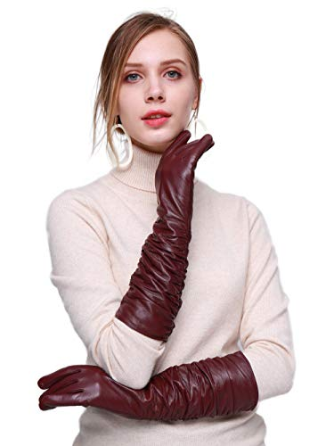 """YISEVEN Women's Touchscreen Lambskin Leather Long Evening Opera Gloves Pleats Fleece Lined Real Luxury Stylish Elegant Warm Fur Lining Winter Ladies Accessories Driving Xmas Gifts, Wine Red 8.5""""/XXL"""