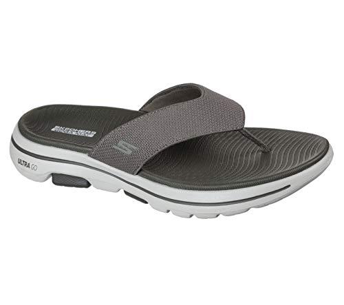 Skechers Men's Gowalk 5 Performance Walking Flip-Flop Sandal, Khaki, Numeric_7