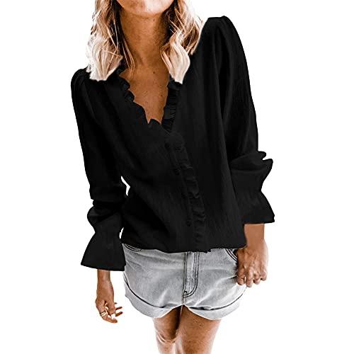 Camisa Casual De Mujer Manga Larga Color para Festivo Sólido Algodón Lino Botón Volantes Camisas Casuales Tops Primavera Otoño Moda Camisas Simples con Cuello En V (Color : Negro, One Size : M)