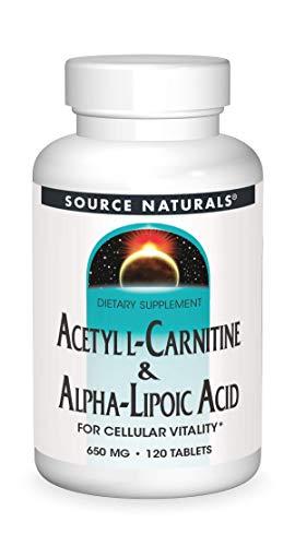 naturals alpha lipoic acids Source Naturals Acetyl L-Carnitine & Alpha-Lipoic Acid 650mg- 120 Tablets