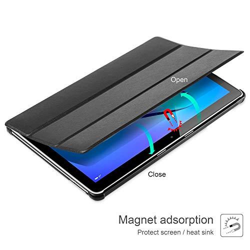 AROYI Hülle für Huawei Mediapad T3 10 Hülle + Panzerglas, Ultra Schlank Schutzhülle Hochwertiges PU mit Standfunktion Glas Panzerfolie für Huawei MediaPad T3 10 (9,6 Zoll), Schwarz - 4
