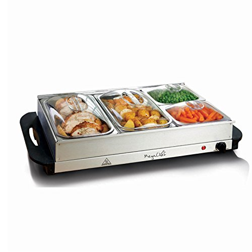 MegaChef Buffet Server & Food Warmer with 4 Sectional, Heated Warming Removable Tray Frame