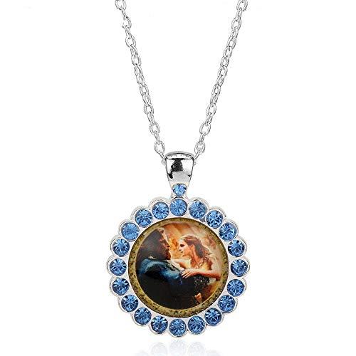 DYKJ Collar de la Bella y la Bestia Collar Colgante de la Bella y la Rosa Rose Fans de Cristal Accesorios de la joyería de la película Gargantilla Regalo de Las Mujeres