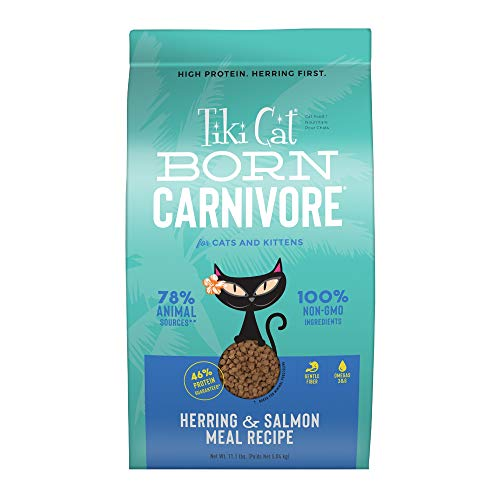 TIKI PETS Cat Born Carnivore Grain Free, Low Carbohydrate Dry Cat Food Baked with Fresh Protein, Fish Luau, 47019, 11.1 lbs.