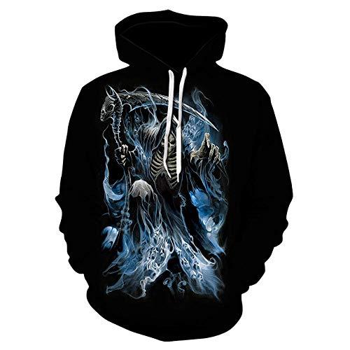 Scythe Reaper Skull Hoodie Herren Pullover Kapuzenpullover Cartoon Print Sweatshirt Sport Hoodie-Color_2XL