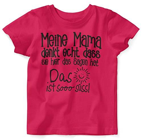 Mikalino Mikalino Baby/Kinder T-Shirt mit Spruch für Jungen Mädchen Unisex Kurzarm Meine Mama Denkt echt | handbedruckt in Deutschland | Handmade with Love, Farbe:himbeerpink, Grösse:56/62