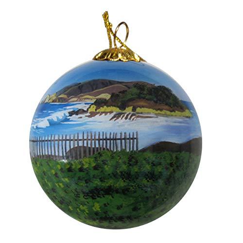 Art Studio Company Hand Painted Glass Christmas Ornament - Beach & Fence in Half Moon Bay