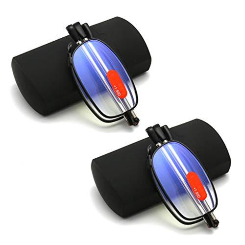 BWBZ Gafas de Lectura Multifuncionales Gafas de Lectura Plegables Lente Anti-Azul de Alta Transmisión de Luz Diseño de Patillas Telescópicas Marco de Metal Gafas de Lectura Portátiles