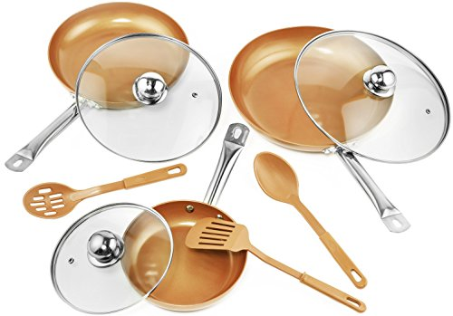 Complete set of 9 pc Copper Frying Pan with Lids & Spoons - Non Stick Chef Pan 8,10 & 12''- Heavy...