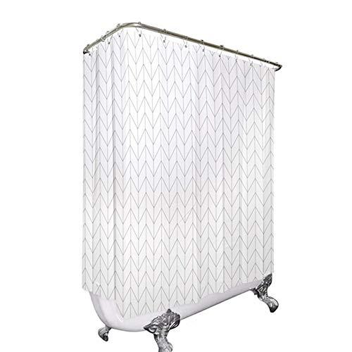 Riyidecor Clawfoot Tub Chevron Shower Curtain Bathtub All Wrap Around White Herringbone Round Polyester Fabric Wraparound Extra Wide Panel 180x70 Inch Set Waterproof with 32 Metal Hooks