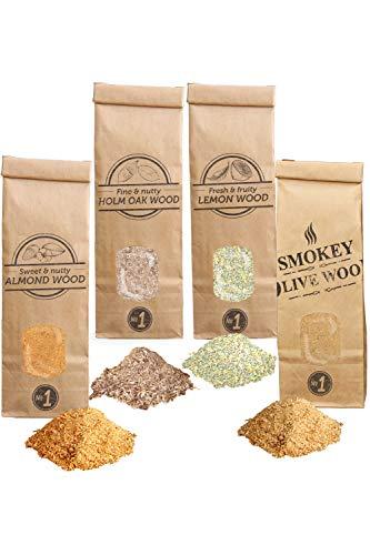 Smokey Olive Wood SOW 4X 300mL Selezione di segatura di Legno: olivo + faggio, mandorlo, leccio e Limone. Dimensione Nº1: 0-1mm AHLV1-04-0.3L