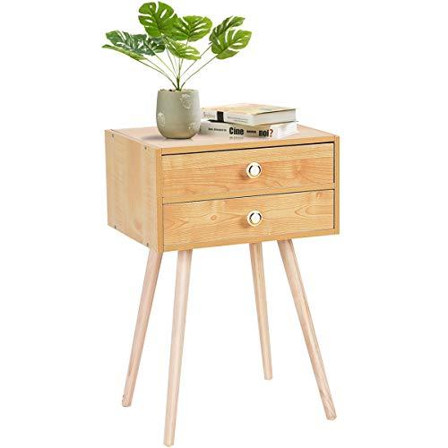 GIANTEX Nachttisch mit 2 Schubladen, Beistelltisch Nachtschrank aus Holz, 40x30x54cm, Nachtkonsole Nachtkommode mit Vier Beinen für Schlafzimmer, Wohnzimmer, Natur