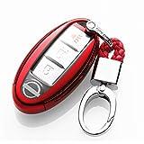 カーリモコンカバーキーセットキーケースに適してニッサン日産Nissan Teana エクストレイル X-TRAIL QASHQAIムラノKICKS TIIDA Maximaリモコン装飾保護アクセサリー (red)