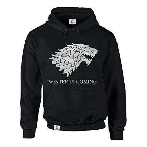 shirtdepartment Hoodie Game of Thrones Winter is Coming Kapuzenpullover Schattenwolf, schwarz-Silber, XL