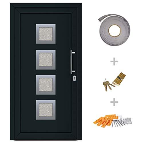 vidaXL Haustür mit Handgriff-Set 3 Schlüssel Montageset Nebeneingangstür Außentür Kellertür Eingangstür Wohnungstür Tür Anthrazit 98x208cm