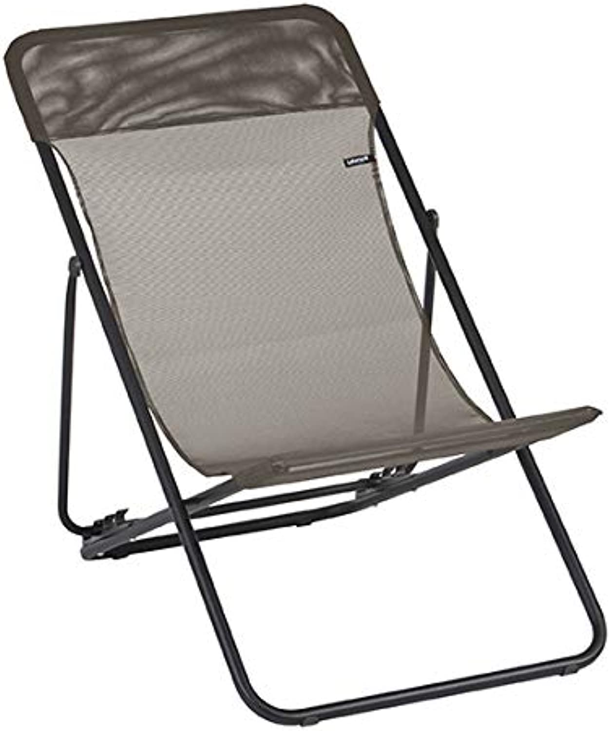 HomeRoots Furniture Folding Sling Chair - Set of 2 - Black Steel Frame - Graphite Fabric (320610)