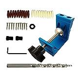 TongYing Juego de herramientas para taladrar agujeros de 15°, 36 unidades, doble bolsillo, ayuda para taladrar agujeros oblicuos, adaptador de accionamiento angular para carpintería