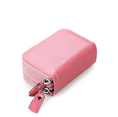 AprinCtempsD RFID Schutz Damen Kreditkartenhülle Herren Kreditkartenetui Echtes Leder Geldbörse Kleine Portemonnaie mit 2 Reißverschluss (Pink)