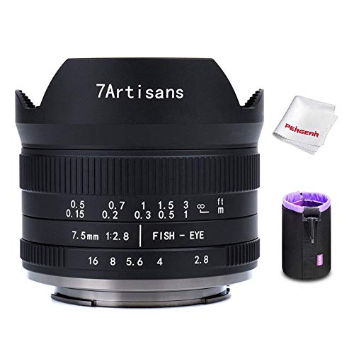 7artisans 7.5mm F2.8 II V2.0 Fisheye-Objektiv mit 190° Blickwinkel, für MFT-Kameras mit M4/3-Mount GM1 GM5 GM7 GX1 GX7 GX8 EPM1 EPM2 E-P1 E-P2 E-P3 E-P5 E-M1 E-M1II E-M5 E-M5II