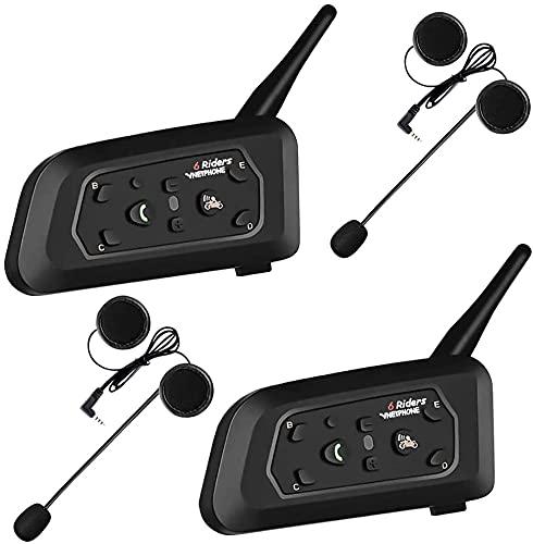 ESTGOUK 2 × V6 1200M Bluetooth Casque de Moto Interphone, Casque Interphone pour Moto Connecter Jusqu à 6 Riders pour Vélo Extérieur,Escalade en Montagne, le Ski