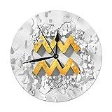 Mesllings Reloj de pared sin tictac, 9.8 pulgadas, símbolo de acuario dorado golpeando a la pared y piezas volando alrededor de reloj de pared vintage