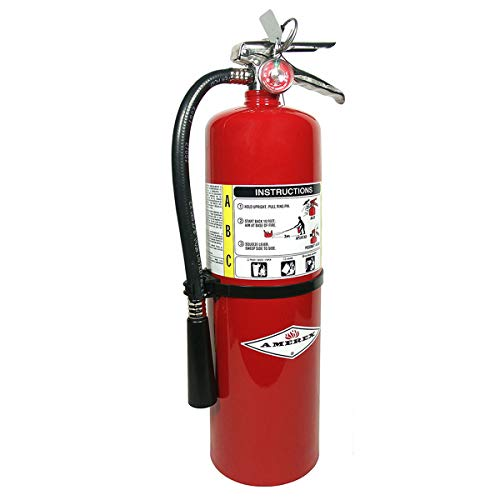 Amerex B456, 10lb ABC Dry Chemical Class A B C Multi-Purpose 10 Pound Fire Extinguisher with Wall Bracket, Mobile Deals Sticker Sign and Blank Inspection Tag