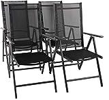 VCM Set Alu Klappstuhl Gartenstuhl Aluminium Campingstuhl Hochlehner 4X Stühle: Anthrazit