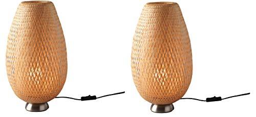 IKEA - Lámpara de mesa BÖJA niquelada, ratán con bombilla LED - Juego de 2