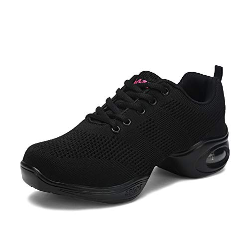 Mujer Dance Fitness Sneakers Aumento Entrenadores Transpirables Fondo Ligero Antideslizante Resistente Desgaste Zapatos Baile Moderno