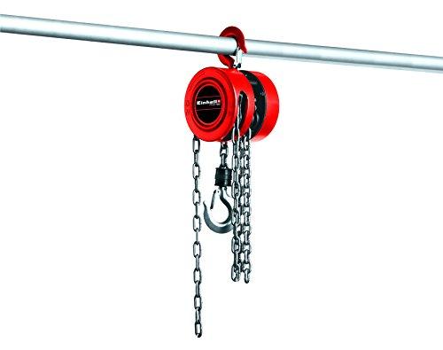 Einhell Cadena polipasto TC de CH 1000(Max. 1.000kilos en Max. 2,5M Hub Altura, carcasa de metal, cerrada resistente para Segura Guía Cadena, gancho de carga con ganchos de seguridad, seguridad para montaje con tirantes, larga mano cadena)