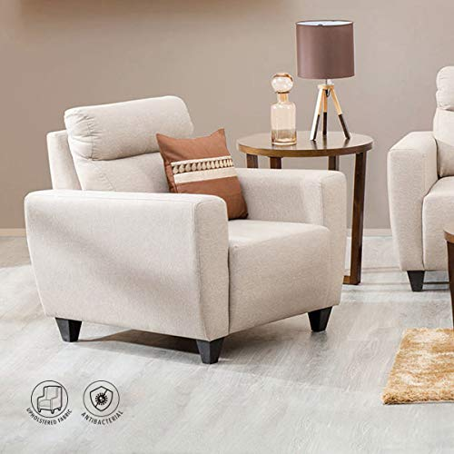 Home Centre Emily Polyester Fabric Arm Rest Straight Sofa Chair (Beige)